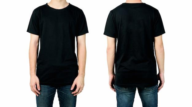 Man in leeg zwart t-shirt, voor- en achterkant van mock up voor designprint. Premium Foto