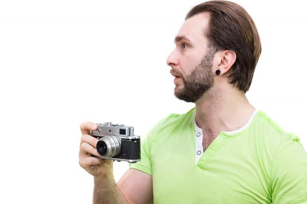 Man met camera Premium Foto