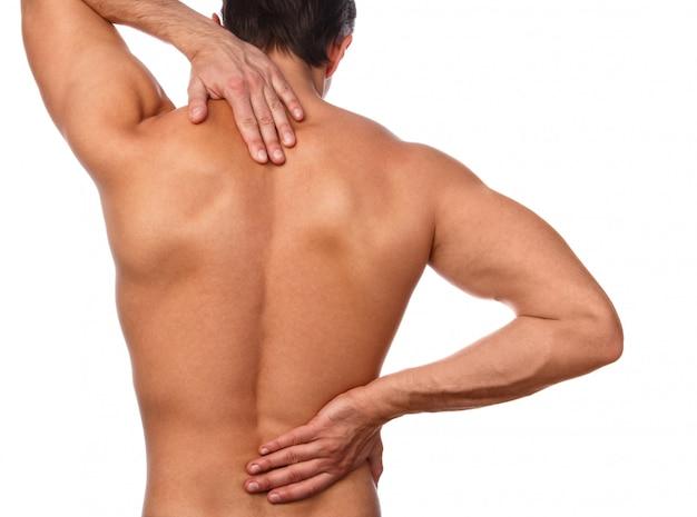 Man met pijn in zijn rug Premium Foto