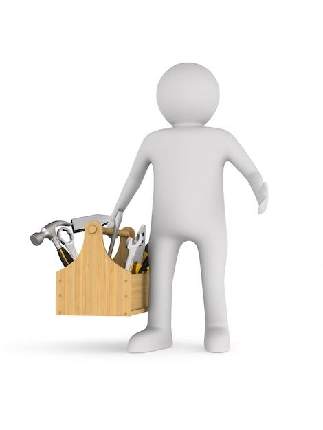 Man met toolbox op witte achtergrond. geïsoleerde 3d-afbeelding Premium Foto