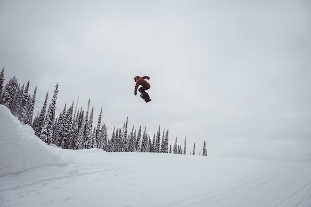 Man skiën op besneeuwde alpen in skigebied Gratis Foto