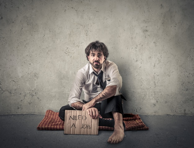 Man zonder baan Premium Foto