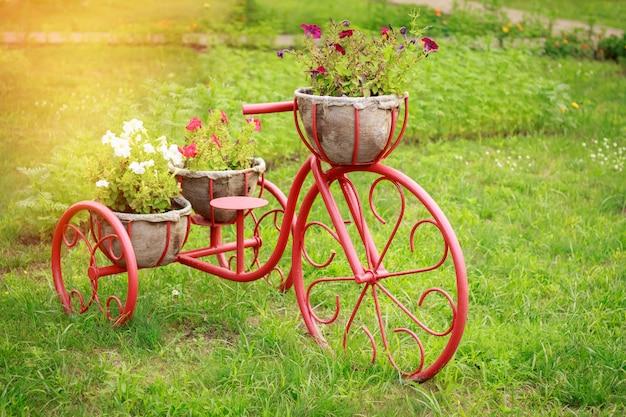 Manden bloembedden in de vorm van een fiets Premium Foto