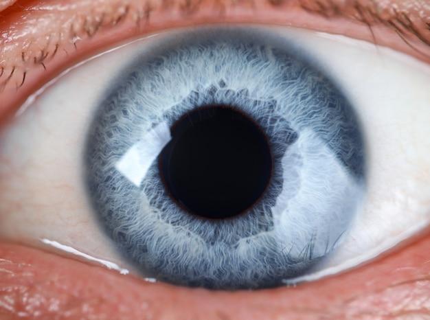 Mannelijke grijs en blauw gekleurd oog extreme close-up Premium Foto