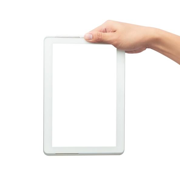 Mannelijke hand die de witte computer van tabletpc met het lege geïsoleerde scherm houdt Premium Foto
