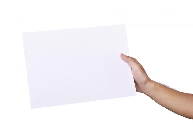 Mannelijke hand die leeg document houdt Premium Foto