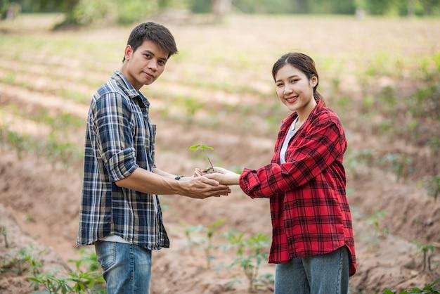 Mannen en vrouwen staan en houden jonge boompjes. Gratis Foto