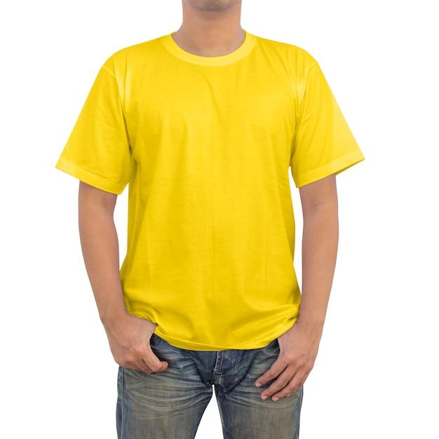 Mannen in geel t-shirt Premium Foto