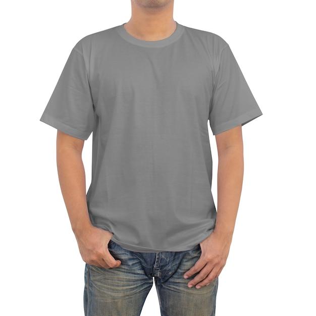 Mannen in grijs t-shirt Premium Foto