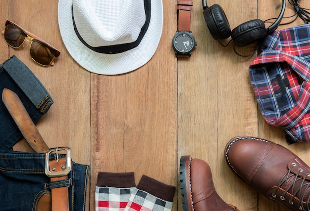 Mannen mode kleding set en accessoires, bovenaanzicht Premium Foto