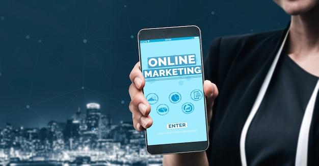 Marketing van digitale technologie bedrijfsconcept Premium Foto