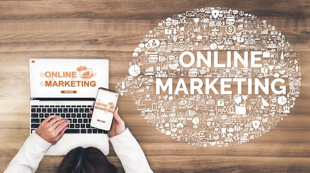 Marketing van digitale technologiebedrijven Premium Foto