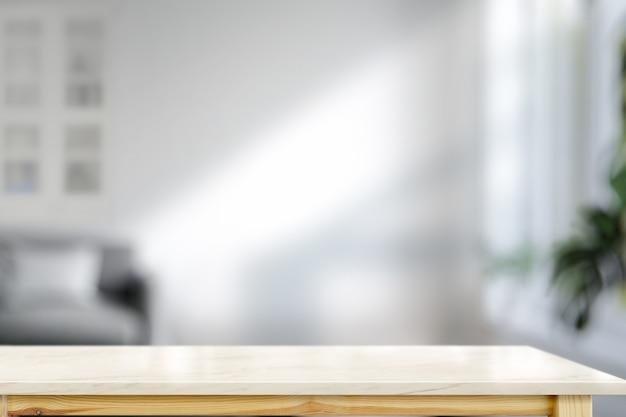 Marmeren toptafel in de woonkamer voor montage van productweergave Premium Foto