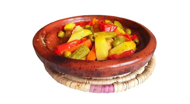 Marokkaanse schotel tajine kipgroenten Premium Foto