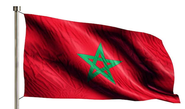 Marokko nationale vlag geïsoleerde 3d witte achtergrond Gratis Foto