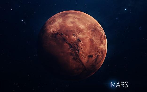 Mars - planeten van het zonnestelsel in hoge kwaliteit. wetenschap wallpaper. Premium Foto