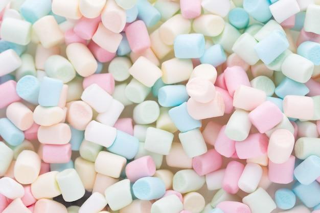 Marshmallows of textuur van kleurrijke mini marshmallows Premium Foto