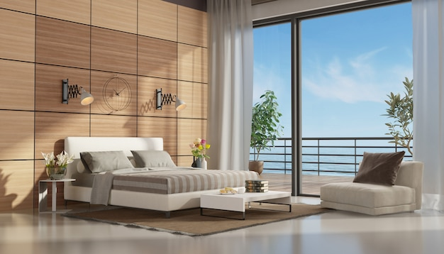 Mastre slaapkamer met terras met uitzicht op zee Premium Foto