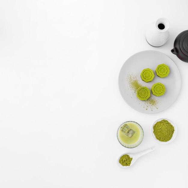 Matcha thee concept met kopie ruimte Gratis Foto