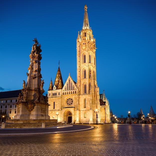 Matthias kerk en het standbeeld van de heilige drie-eenheid in boedapest, hongarije Premium Foto