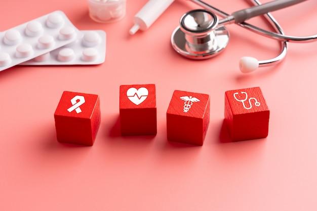 Medisch pictogram op puzzel voor wereldwijde gezondheidszorg Premium Foto