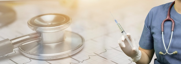 Medische achtergrond met verpleegster Premium Foto
