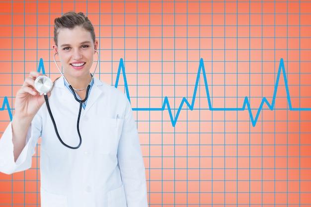 Medische visualisatie stethoscoop vrolijk onderzoeken Gratis Foto