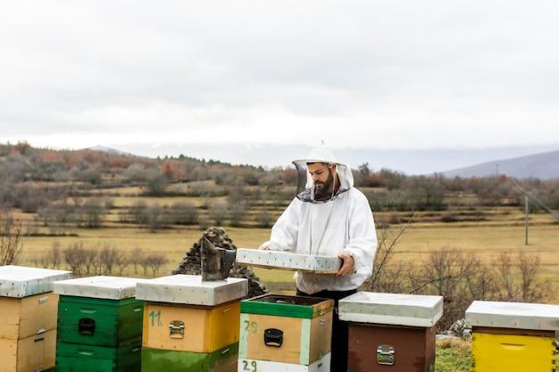 Medium shot man die de bijen controleert Gratis Foto