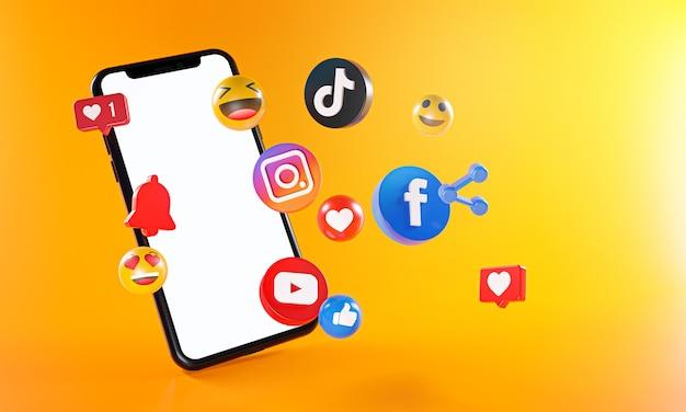 Meest populaire sociale media instagram facebook tiktok youtube-pictogrammen. Premium Foto