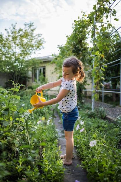Meisje assistent water geven groenten in de tuin Premium Foto