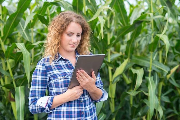 Meisje boer met tablet staan in het maïsveld met behulp van internet en een rapport verzenden Gratis Foto
