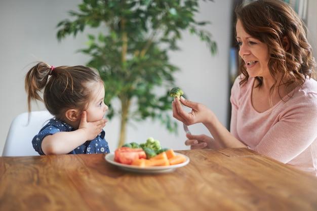 Meisje dat groenten eet Gratis Foto