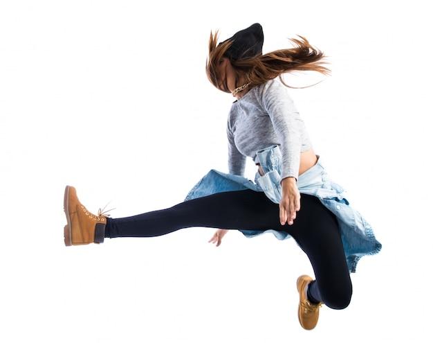 Meisje dat in hiphopstijl springt Premium Foto