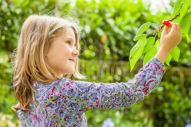 Meisje en kersenboom met zomerzon op achtergrond Gratis Foto