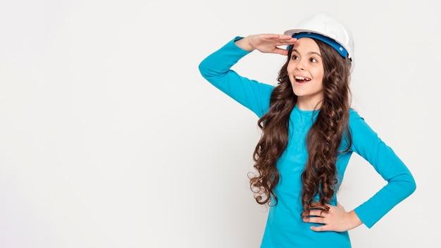 Meisje met ingenieurshelm Gratis Foto