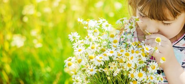 Meisje met kamille. foto. natuur bloemen. Premium Foto