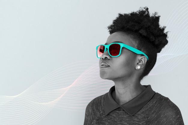 Meisje verstand neon zonnebril Gratis Foto