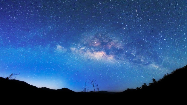 Melkweg en sterrenhemel achtergrond. Premium Foto