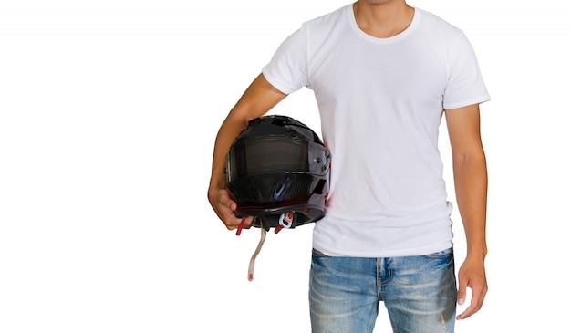 Mens die in wit t-shirt een helm houdt Premium Foto