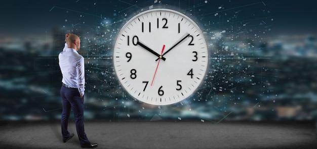 Mens die kloktijdopnemer het 3d teruggeven houdt Premium Foto