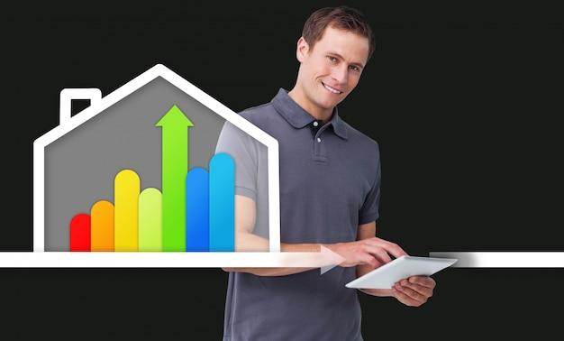 Mens die zich achter energie efficiënt grafisch huis bevindt Premium Foto