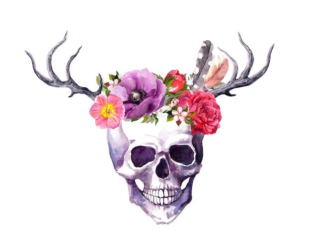 Menselijke schedel met hoorns van herten, bloemen en veren in vintage boho-stijl. aquarel voor death day Premium Foto