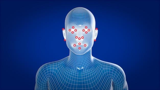 Menselijke xray, menselijke anatomie gezichtsherkenning, 3d illustratie Premium Foto