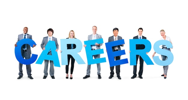 Mensen uit het bedrijfsleven houden de word-carrières Gratis Foto