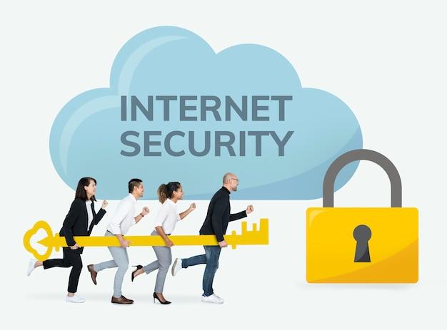 Mensen uit het bedrijfsleven werken op internetbeveiliging Gratis Foto