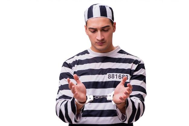 Mensengevangene op wit wordt geïsoleerd dat Premium Foto