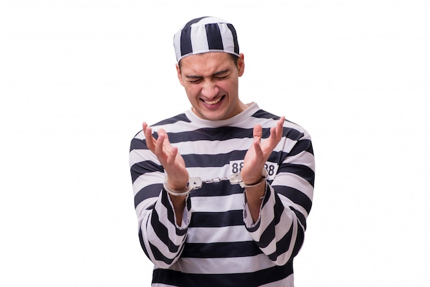 Mensengevangene op witte achtergrond wordt geïsoleerd die Premium Foto
