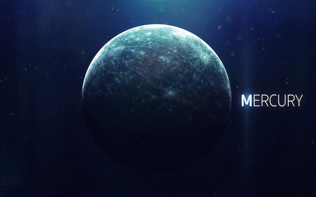 Mercurius - hoge resolutie prachtige kunst presenteert de planeet van het zonnestelsel Premium Foto
