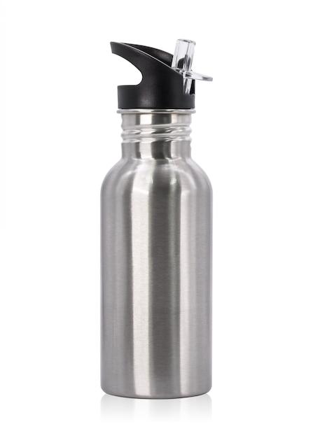 Metaalfles en plastic die buis op witte achtergrond wordt geïsoleerd. Premium Foto