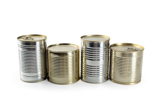 Metalen blikken geïsoleerd Premium Foto